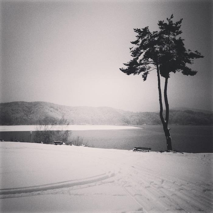 Zimowy krajobraz, Zalew Soliński